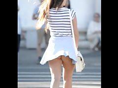 Delicious tourist in light blue skirt