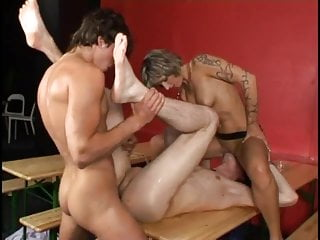 Bisexual guys fucking In threesome with busty woman