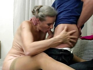 Granny's pussy meets young boy's cock