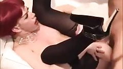 sexy shemale in heels fucked by a hairy bear