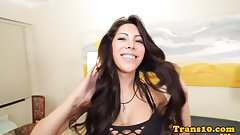 Lingerie latina has her tranny ass pounded
