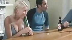 Denise Van Outen sucks a cucumber with nice cleavage out