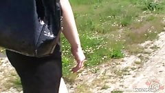 Bitch STOP - Czech brunette rides big cock outdoors