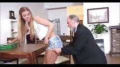 Hot young Chrissy fucked by dirty old man