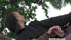 Amateur European gets handjob in public park