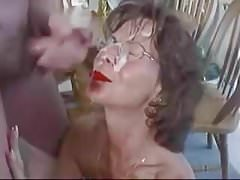 Mature In Glasses Gets Creamy Facial