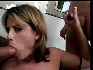 Dirty blonde MILF with huge tits deep throats a nice cock then fucks