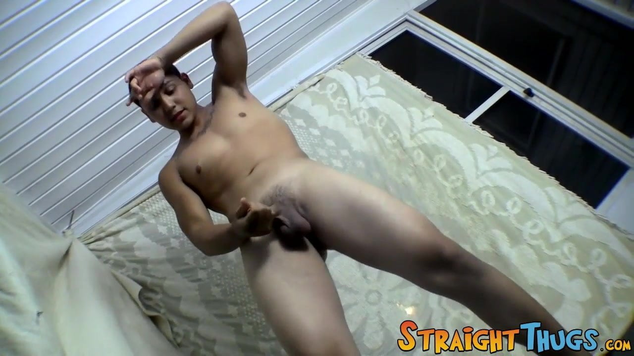 Young straight buddies chain and wiley jerk off to cum