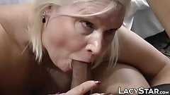 Cocksucking Brit GILF gets a mouthful of sticky cum