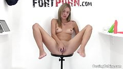 Horny Teen Masturbates on Casting