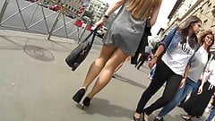 little grey minidress and  black high heels