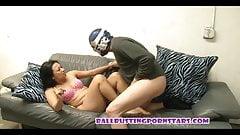 Asian Femdom Ballbusting with the Naked Burglar