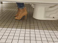 Gas Station Toilet Voyeur III (Sexy Brunette Chick In Heels)
