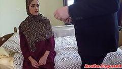 Hijab muslim babe fucked for cash money