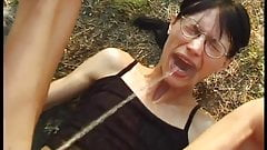 Milf hairy slut Csilla perverse pissing summer sex outdoor