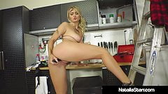 Smoking Hot Natalia Starr Bangs Her Bush In Garage With Tool's Thumb
