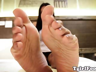 Preview 2 of Oriental ts footworshipped in closeup