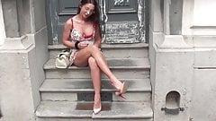 Cute european girl flashing in public