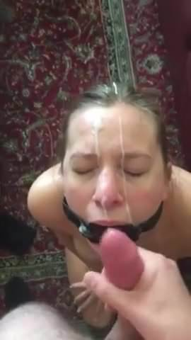 Slave ring gag blowjob