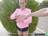 Tattooed bomb picked up and fucked for cash outdoors