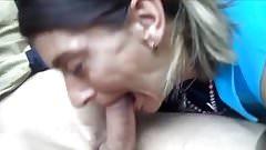 Blowjob by a skank mature