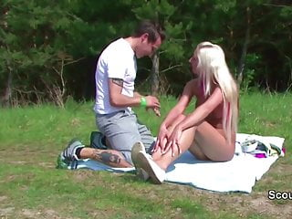 German Teen get fucked outdoor by older Man after Sunbathing