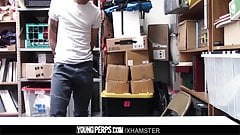 Repeat shoplifter gets tiedup and fucked by an angry mallcop