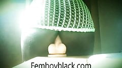Femboy in green fishnets stocking riding 3 dildos 15 min