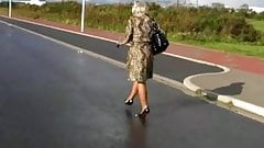 Walking in High Heels and FF Stockings