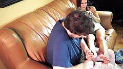 Cute girl Jamie gets her feet worshipped