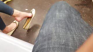 Candid asian lady sexy shoe dangle pt 1