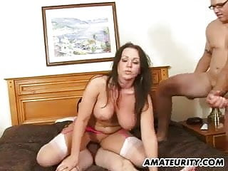 Busty amateur girlfriend enjoys 4 dicks with huge cum loads