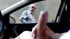 Car Flash Old man looks my cock for a long time!