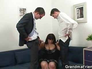 Huge titted bitch takes two cocks