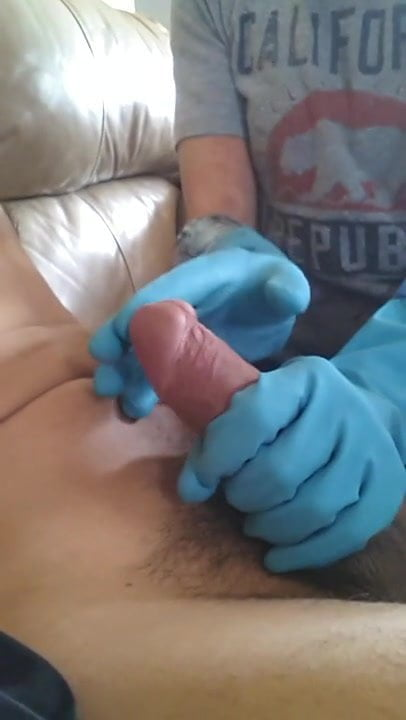 Rubber gloves hand job