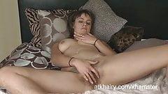 Onyx masturbates her hairy pussy