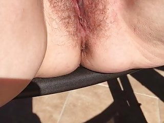 CREAMY LADY CUM AFTER I DILDOED MY CUNT OUTSIDE