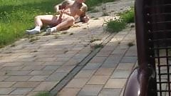 Hot guy jerking naked in public park in broad daylight