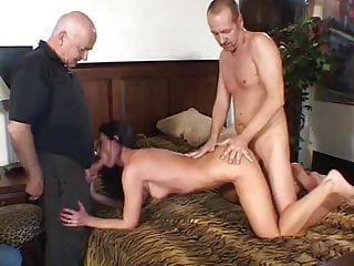 Young stud licks and fucks sexy sluts pussy while her husband watches