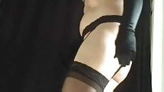transsexual stockings, garter and thong
