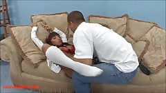 Big titty asian gets her asshole fucked and swallows small l