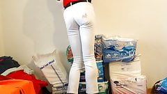 crossdresser in tight white girlie jeans sexy ass