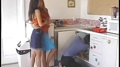 lesbians plumber and fuck him on the kitchen
