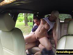 European cabbie fucking passenger in public
