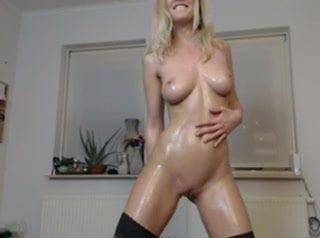 sexy blonde oil and cream cum