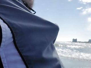 Jerking off on public beach-Big Cum Shot-Hairy Bear