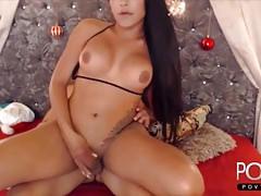 Big tits tgirl Kittyhotts on top of big latina cock
