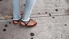 Candid mature ebony feet waiting for the bus 3