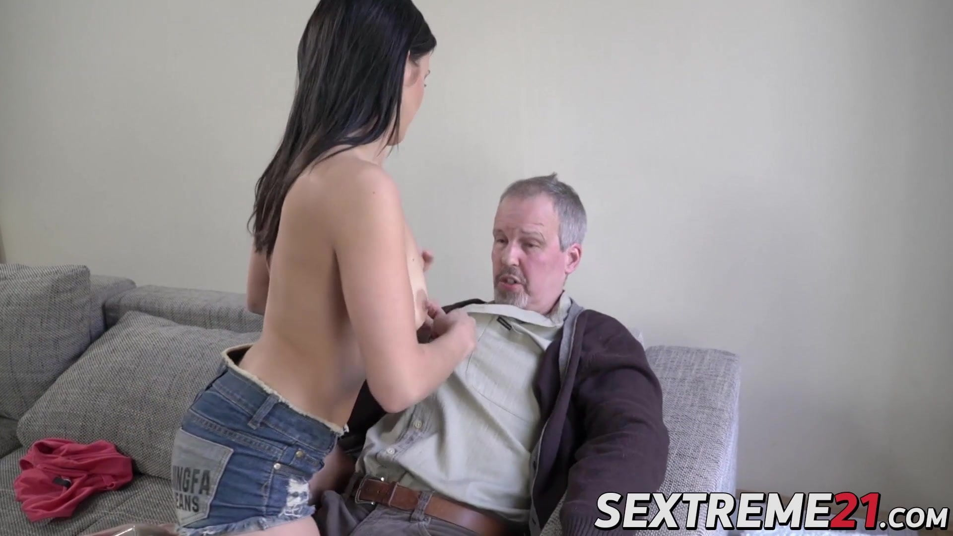 Youthful babe with pure tits banged laborious by an older man