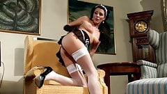 Sexy maid Naomi fucking in stockings and heels
